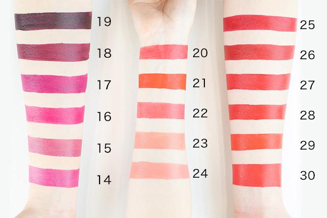 腕に塗ったときのイメージ写真 カラーナンバー14~30