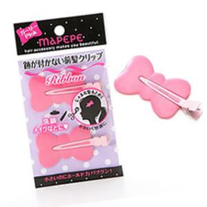 跡が付かない前髪クリップリボン / ピンク