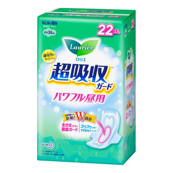 ロリエ超吸収ガード パワフル昼用 / 羽つき / 22コ入(24cm)