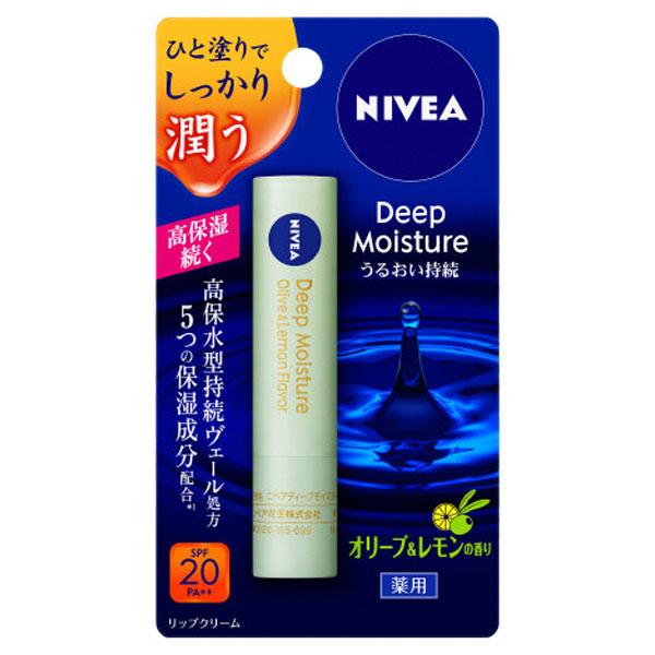 ニベア ディープモイスチャーリップ オリーブ&レモンの香り / SPF20 / PA++ / 2.2g