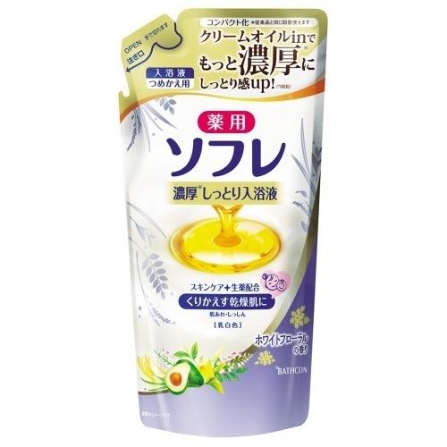 薬用ソフレ濃厚しっとり入浴液 ホワイトフローラルの香り / つめかえ用 / 乳白色 / 400ml