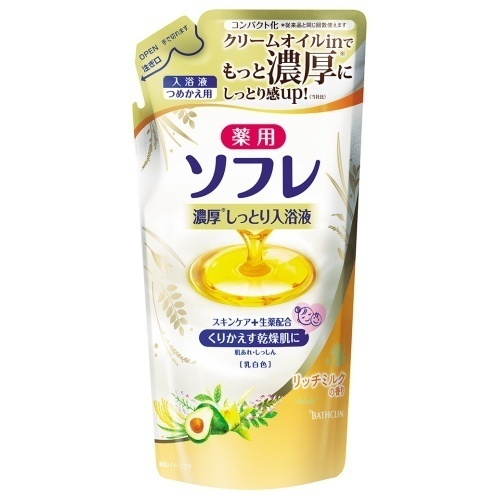薬用ソフレ濃厚しっとり入浴液 リッチミルクの香り / つめかえ用 / 乳白色 / 400ml