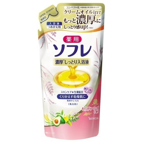 薬用ソフレ濃厚しっとり入浴液 モイスチャーローズの香り / つめかえ用 / 乳白色 / 400ml