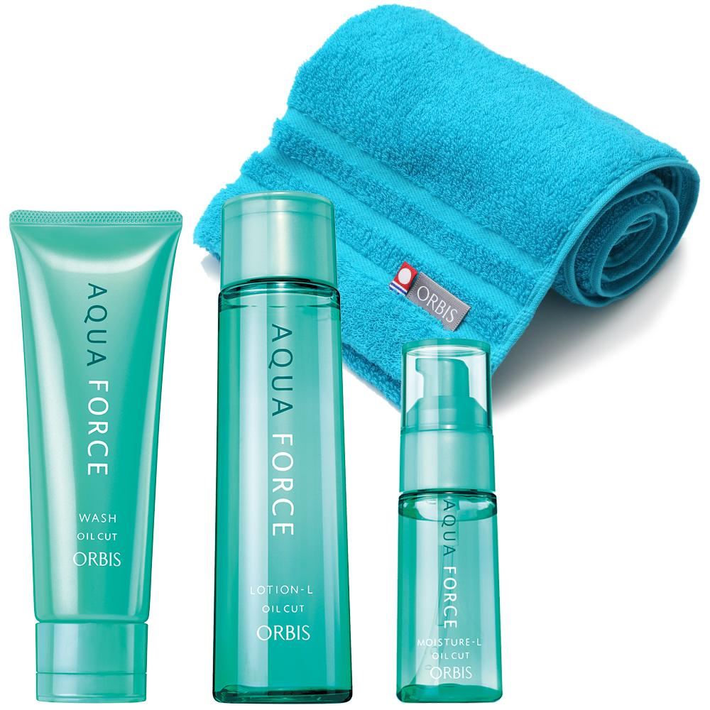 アクアフォース3ステップセット / 本体(ふわふわ抗菌加工タオル付) / 洗顔料120g、化粧水180mL、保湿液50g / さっぱりタイプ