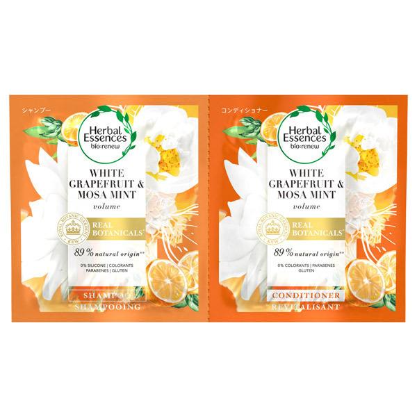 ビオリニュー ホワイトグレープフルーツ&ミント シャンプー/コンディショナー / トライアル / 12mL+12g / グレープフルーツ、ミント、ピーチのフルーティな香り