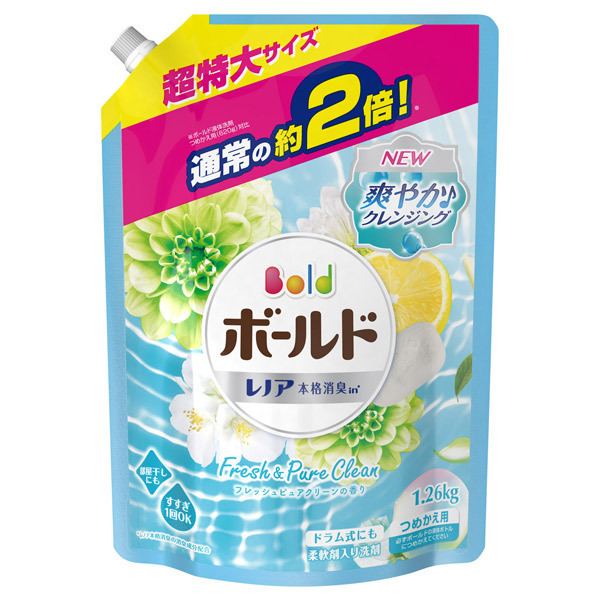 ボールドジェル アクアピュアクリーンの香り / 詰替え / つめかえ用 超特大サイズ / 1260g / フレッシュピュアクリーンの香り