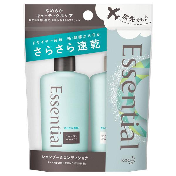 エッセンシャル さらさら速乾 シャンプー&コンディショナー ミニセット / トライアル / 90ml / さわやかに澄みわたる アクアフローラルの香り