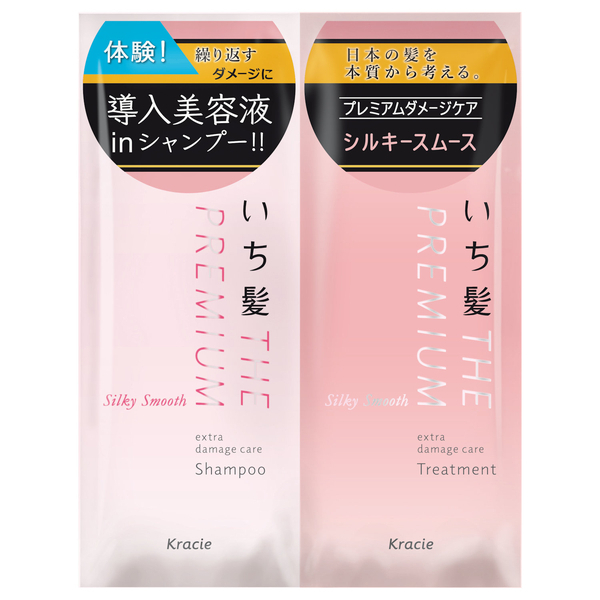 いち髪 THE PREMIUM エクストラダメージケアシャンプー&トリートメント(シルキースムース) / トライアルセット / 10ml+10g / 八重桜の香り